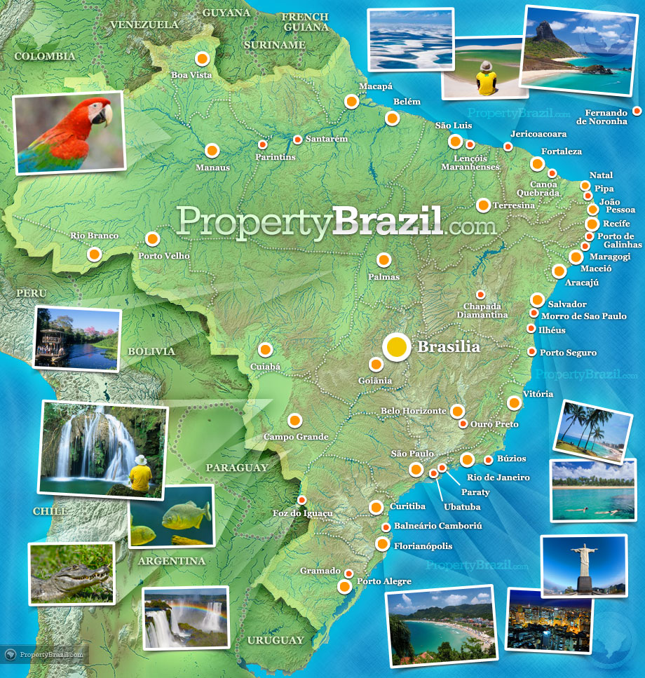{Brazil The No 1 Brazil tourism vacation and travel guide – Brazil Tourist Attractions Map