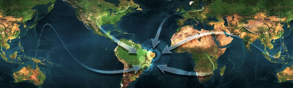 Wereldkaart-gericht-op-brazilie